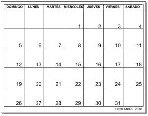 calendar excel 2010